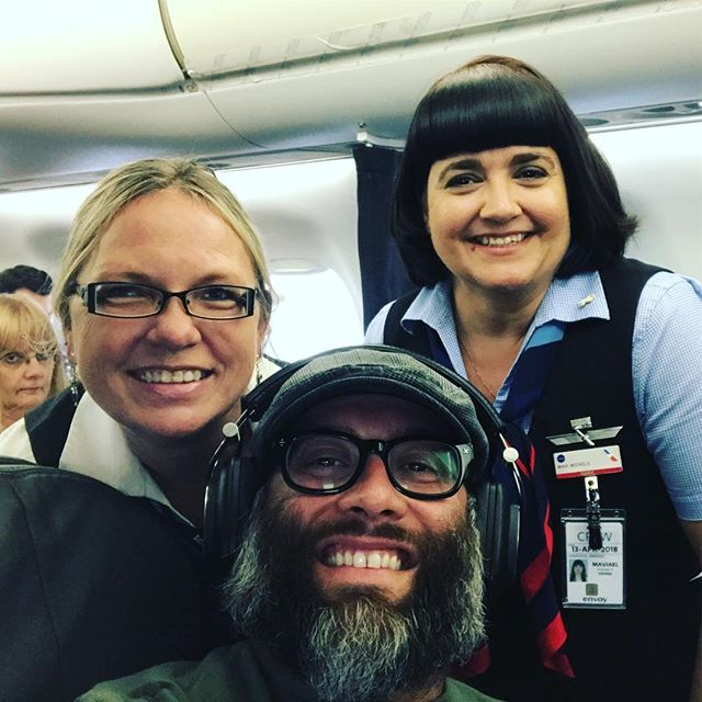 Rough day of flights and delays but these awesome @americanair flight attendants were great! #frequentflyer #selfie #DFW